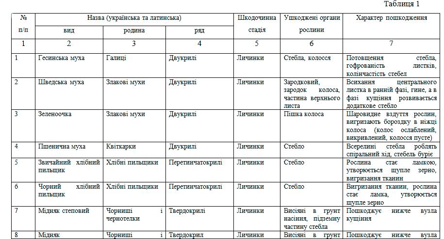 Видовой состав вредителей на пшенице